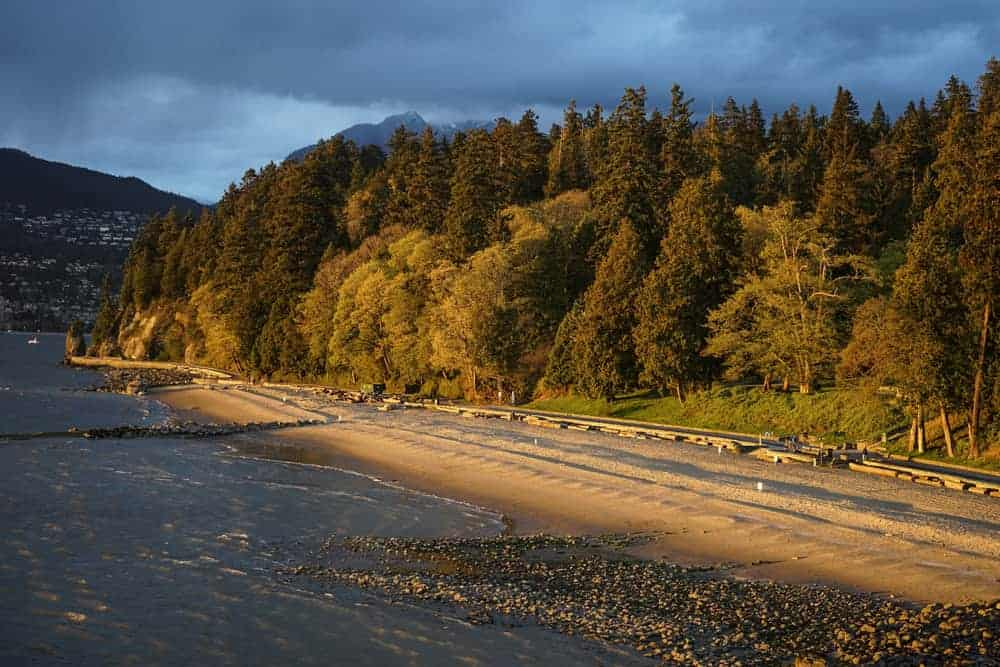 View of Third Beach in Stanley Park in Vancouver