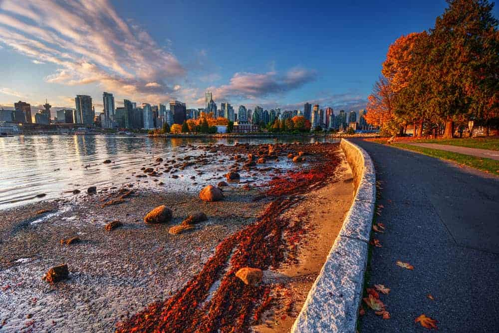 The Seawall in Autumn with view of downtown Vancouver.