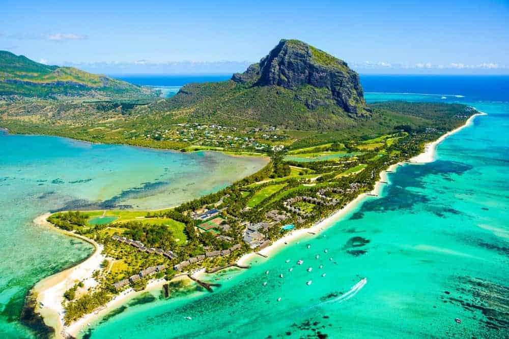 An aerial view of Mauritius island.