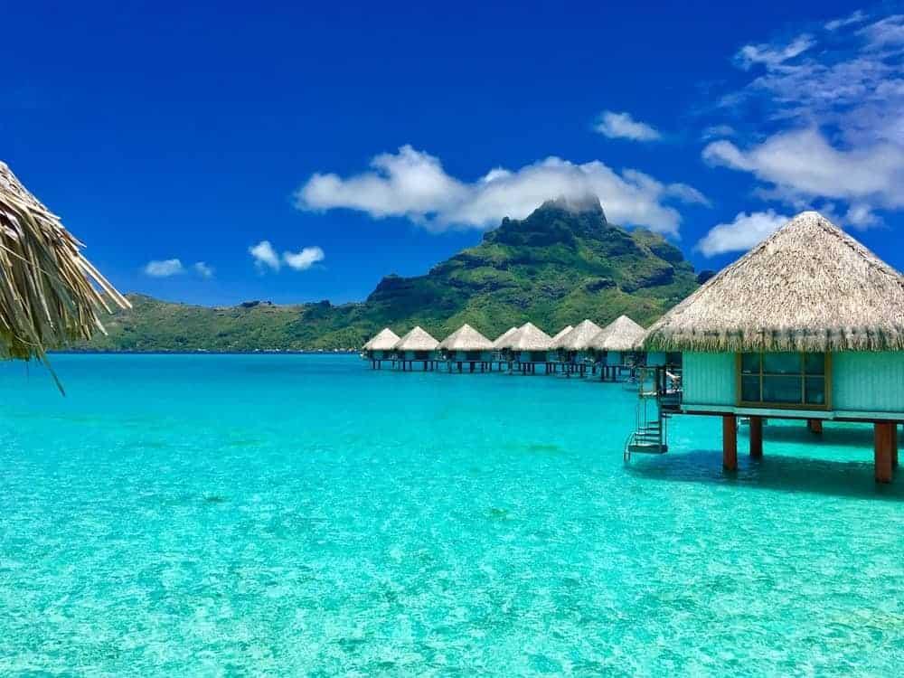 A view of the huts on stilts in Bora Bora, Tahiti.