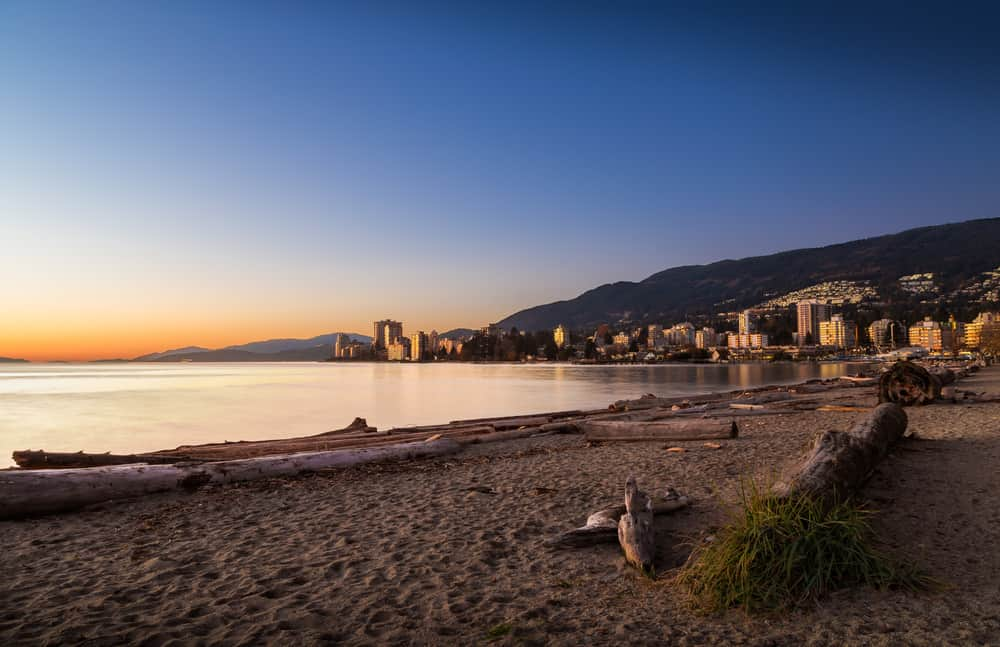 Beautiful sunset of Ambleside Beach in West Vancouver.