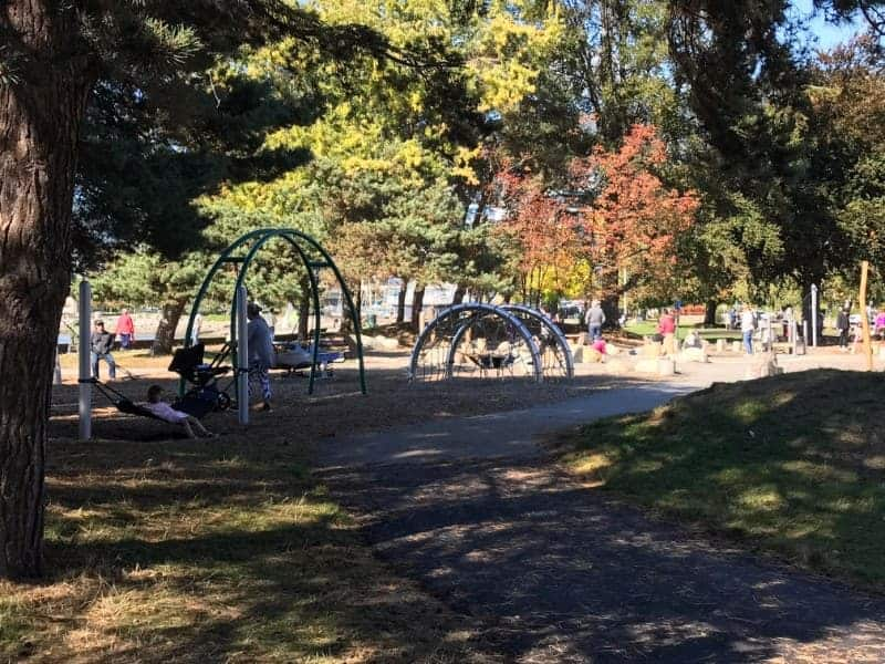 The playground at Ambleside Beach in West Vancouver, British Columbia.