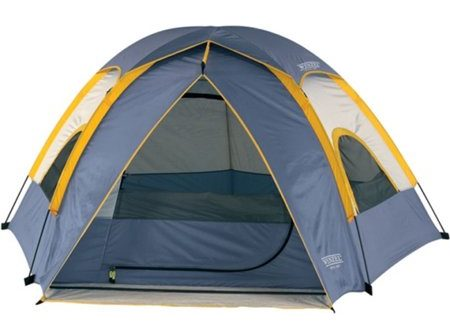 Blue polyester tent with yellow accents.