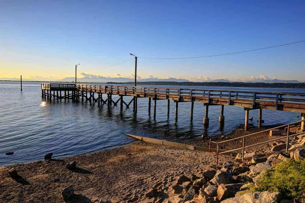 Close up of the pier at Crescent Beach in South Surrey, British Columbia.