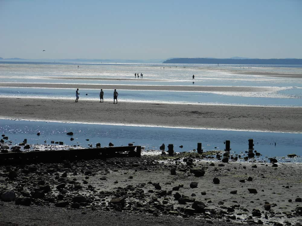 The huge sandy beach in the Summer at Crescent Beach in South Surrey, BC.