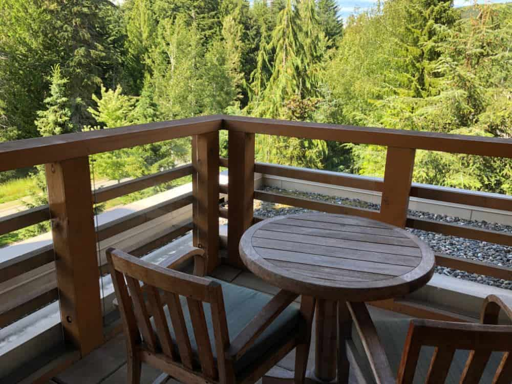 Balcony for suite at Four Seasons Hotel in Whistler