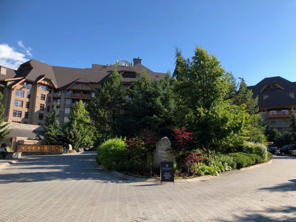 Driveway to the valet area of the Four Seasons resort at Whistler