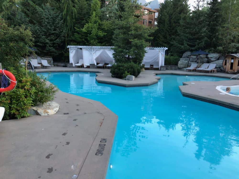 Pool area at the Four Seasons Resort Whistler