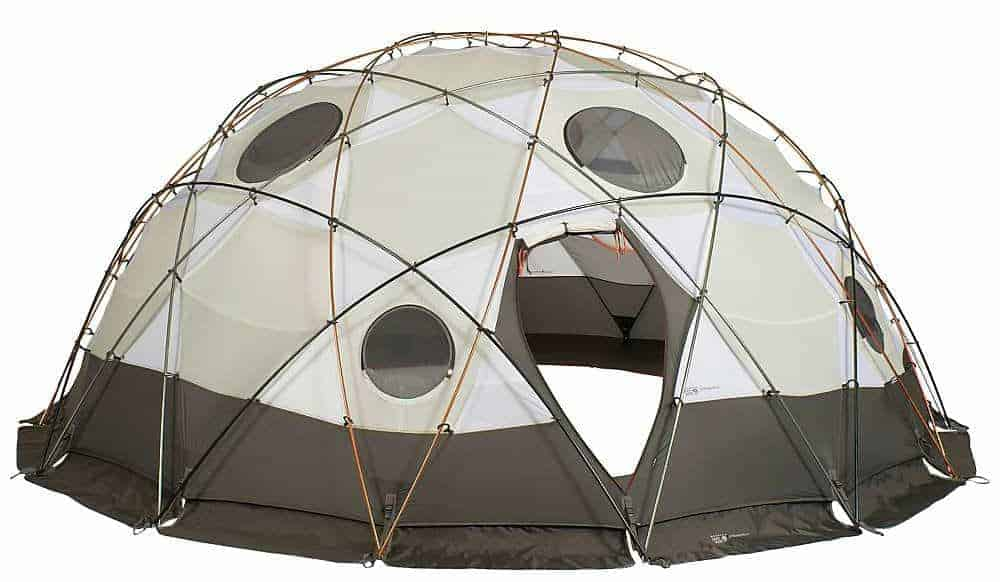 A gray, ten-people tent.