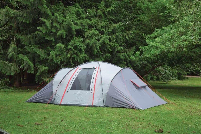 A gray vis-à-vis tent on a lawn.