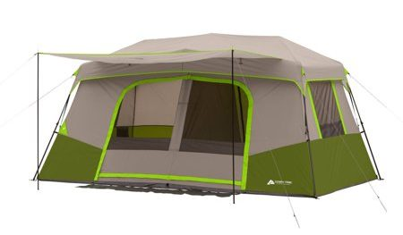 Green and gray cabin tent that can accommodate 11 people.