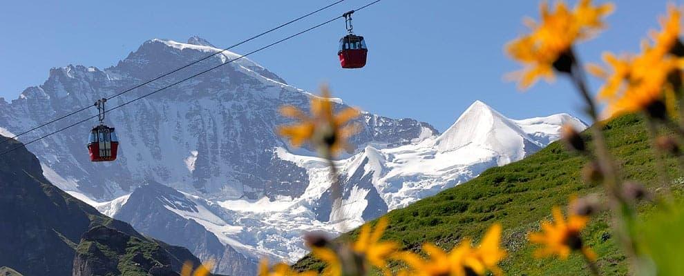 A view of the Grindelwald-Mannlichen Gondola Cableway, Switzerland at 7,300 feet.
