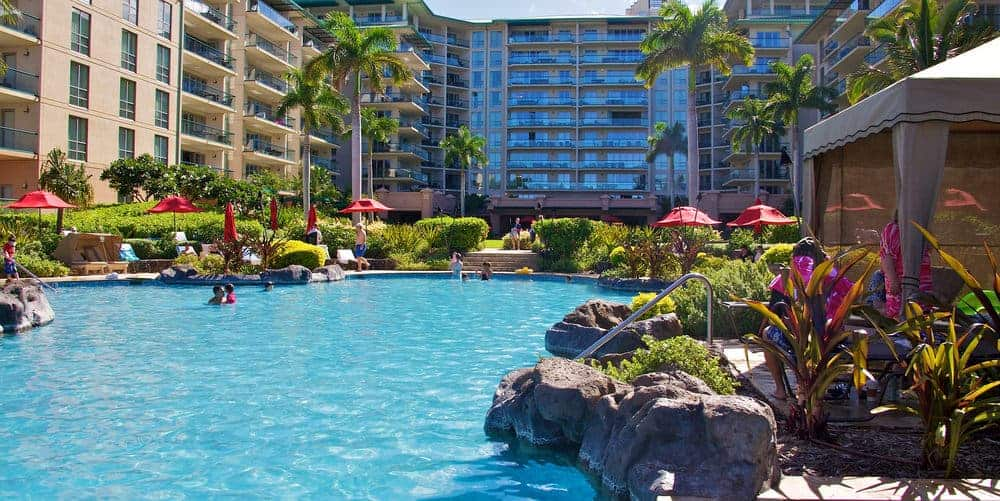 Honua Kai resort tower and family pool.