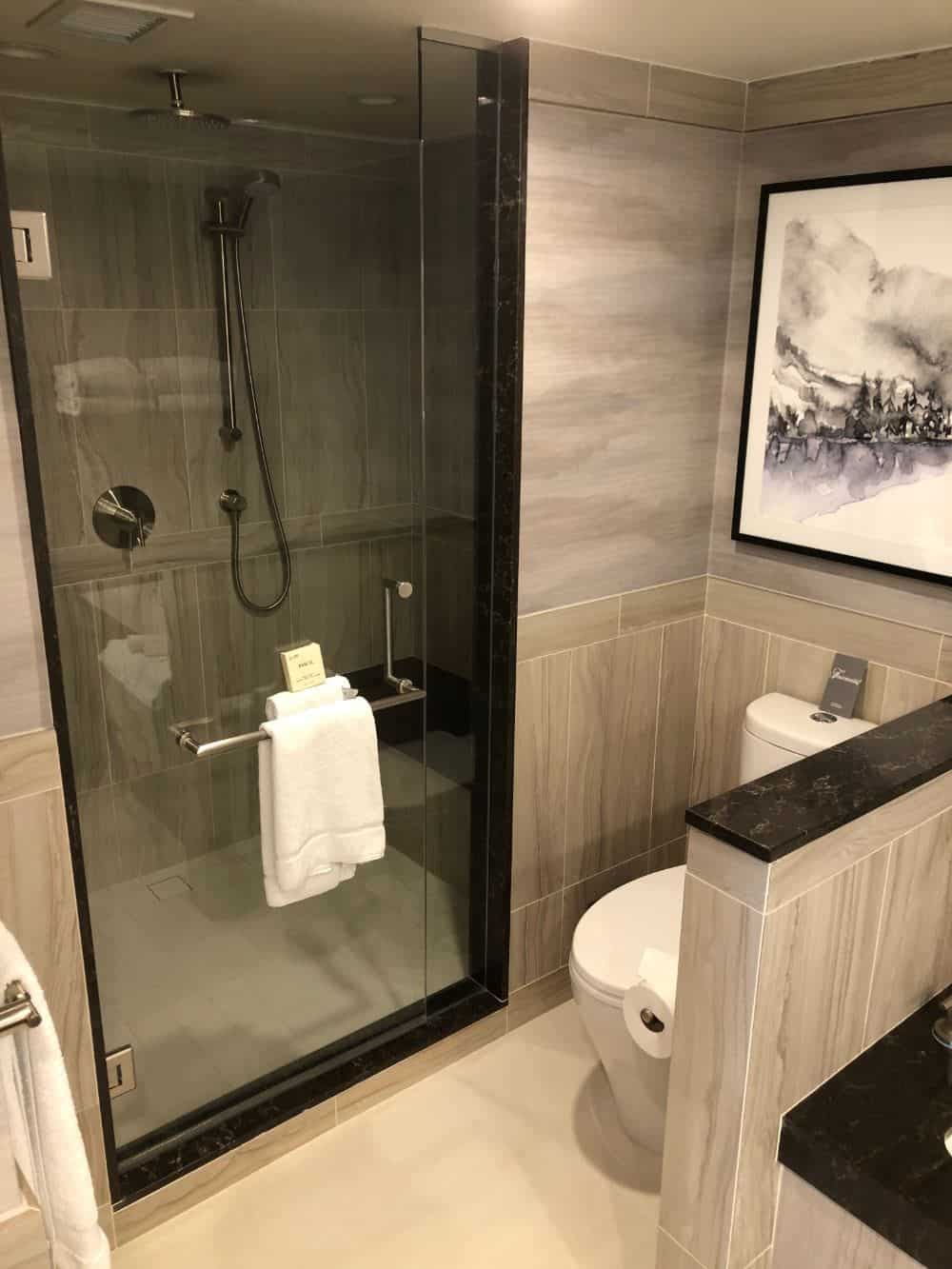 Walk-in shower in the main bathroom in the Chateau Fairmont Whistler suite