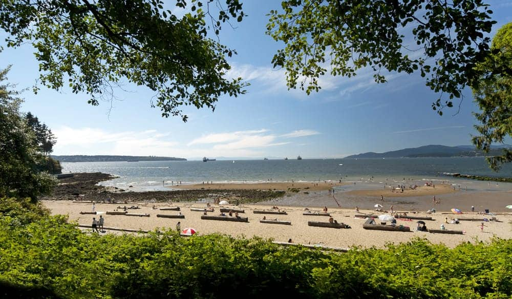 A panoramic view of Third Beach in Vancouver, BC (in Stanley Park).