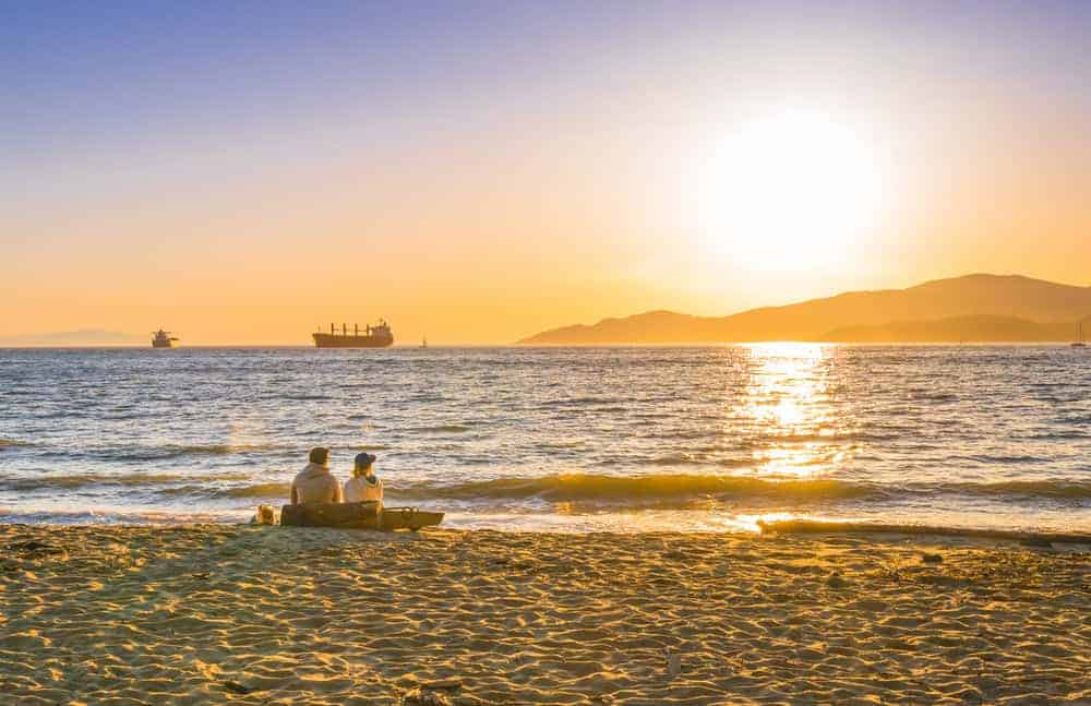 Incredible sunset at Third Beach in Stanley Park in Vancouver, British Columbia.