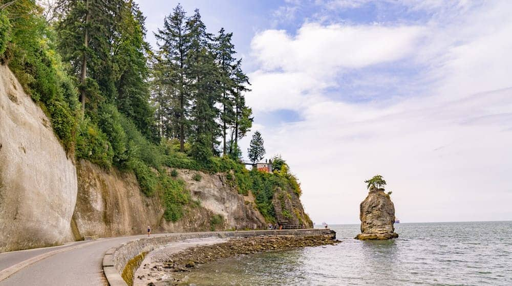 Here's the super cool seawall that wraps around Stanley Park. You can cycle, walk, rollerblade or scooter along the Seawall to get to Third Beach in Vancouver, BC.