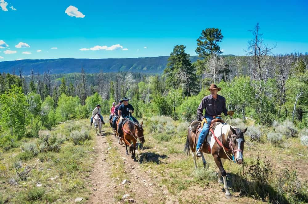 A group of men touring a ranch on horseback.