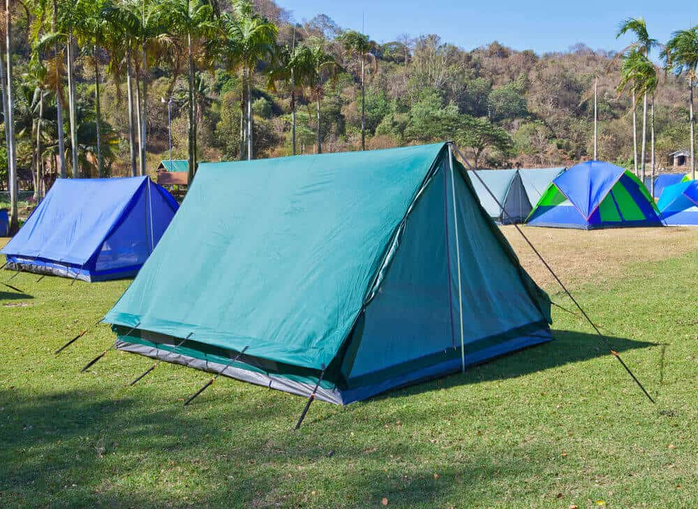 Blue and Teal ridge tents.