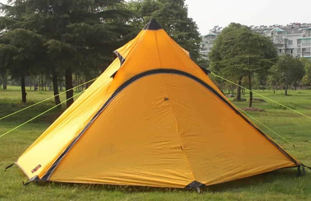 Yellow, waterproof nylon tent.