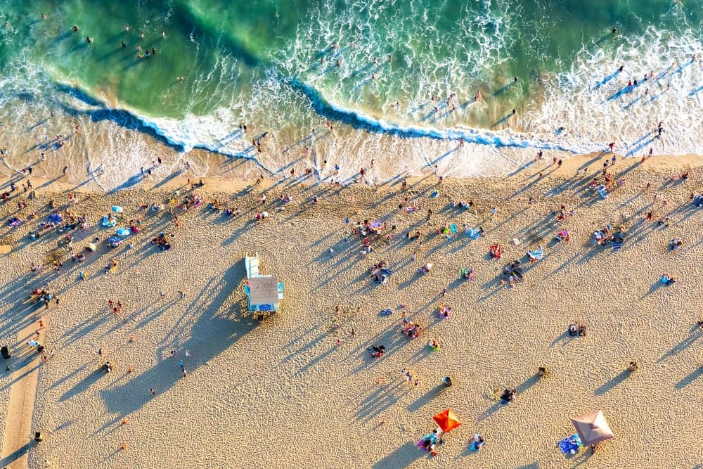 This is an aerial view of the beach in Santa Monica.