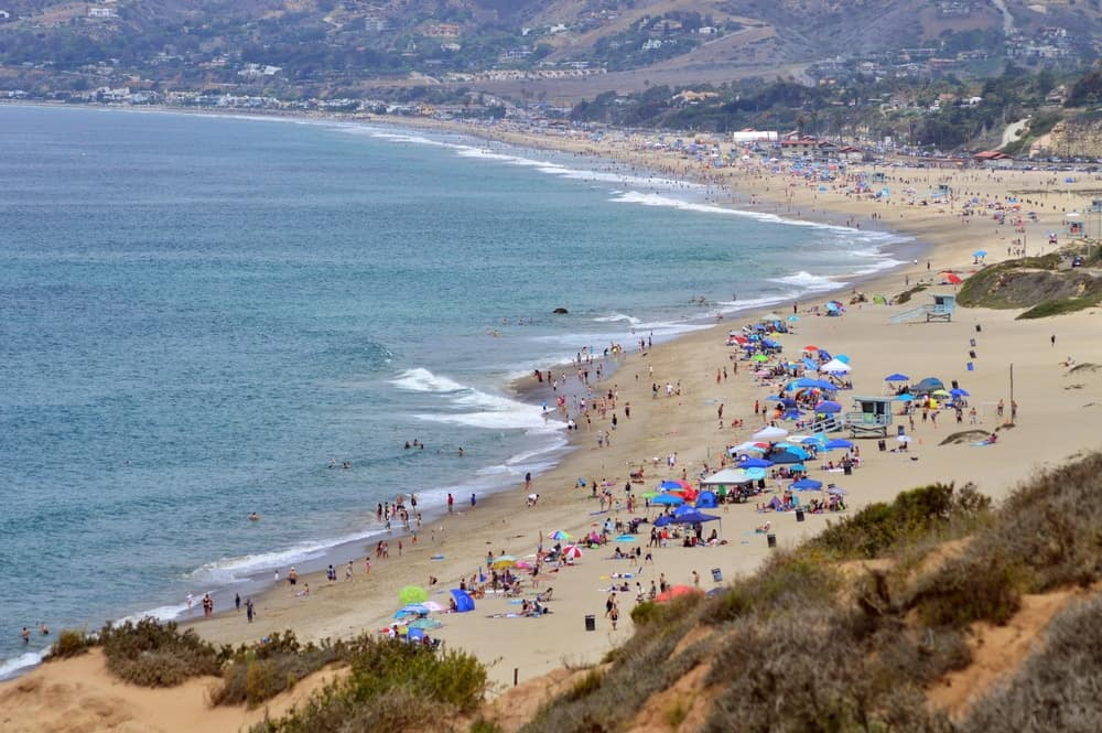 This is an overlooking view of Zuma Beach.