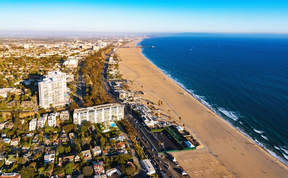 This is an aerial view of the Santa Monica Beach.