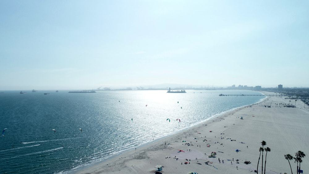 This is an aerial view of the Rosie's Dog Beach on a sunny day.
