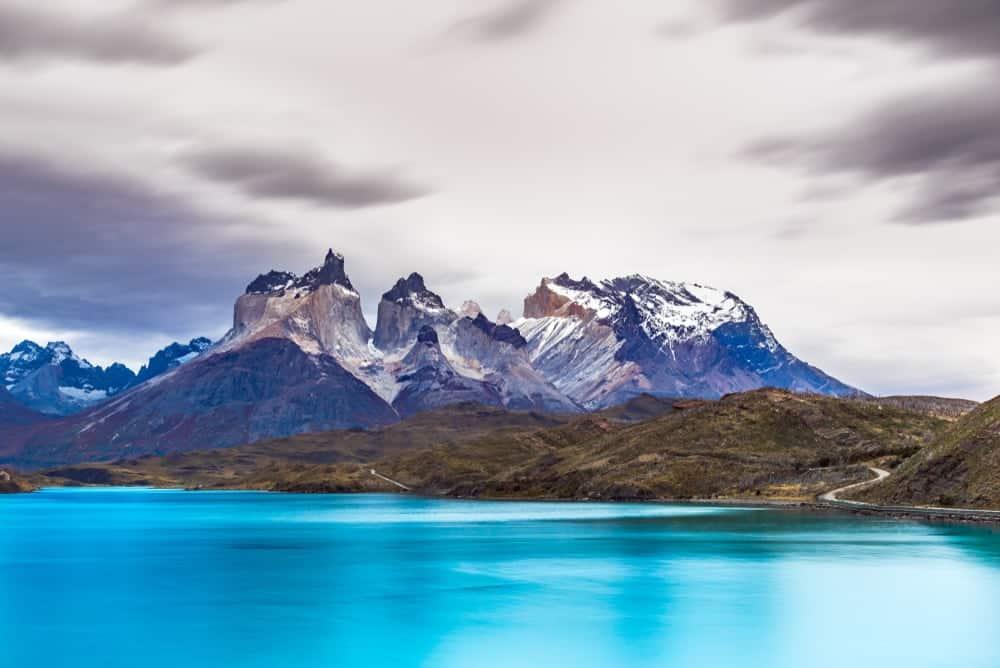Cordillera del Paine and Laguna Pehoe in Chile, South America.