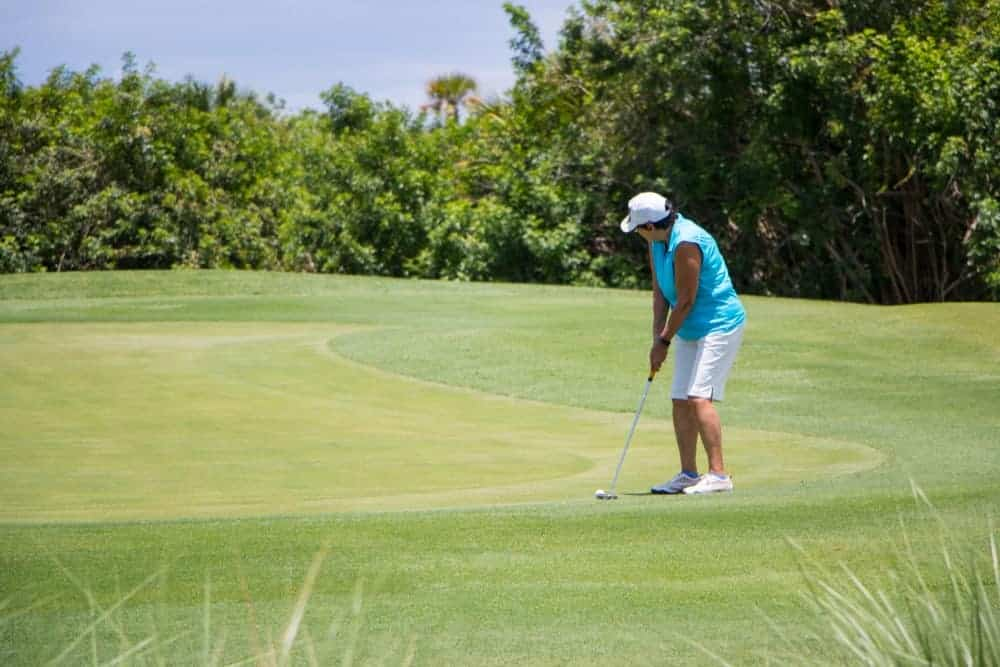 The Palencia Club is home to some private golf clubs in Florida. Here's a look of a retired female golfer preparing a swing.