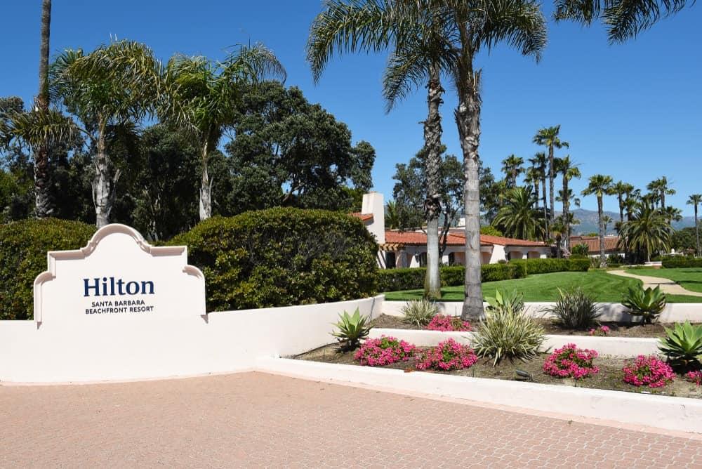 Entrance to the Hilton Santa Barbara Beachfront Resort, Santa Barbara.