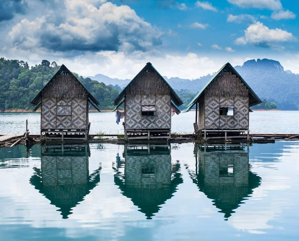 A row of huts in a floating hotel in Thailand.