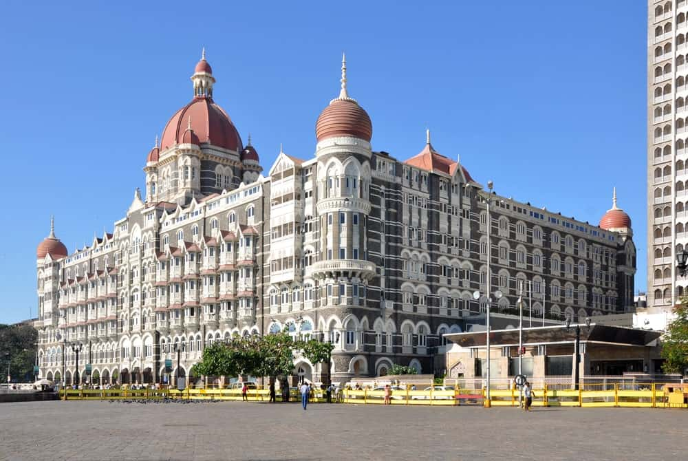 An exterior look at a large heritage hotel in India.