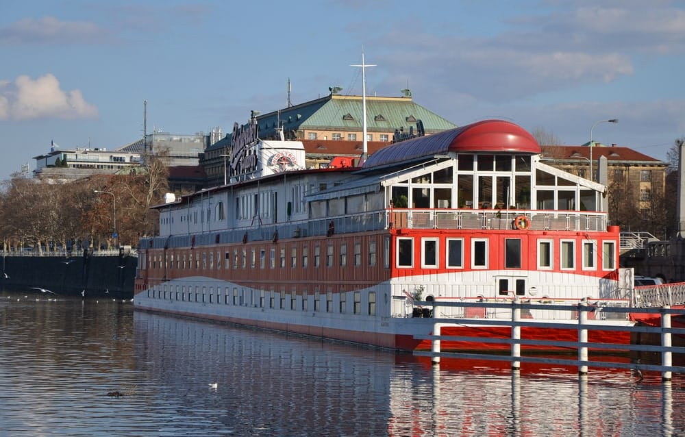 A look at a large hotelship docked in Prague.