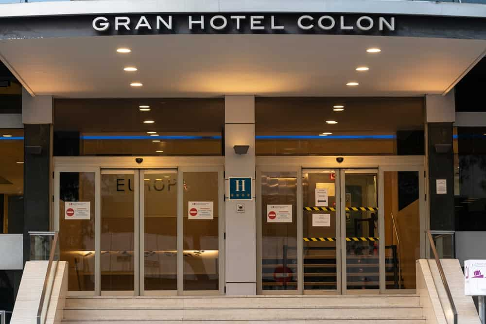 A look at the main entrance of the Gran Hotel Colon, a patient hotel in Spain.