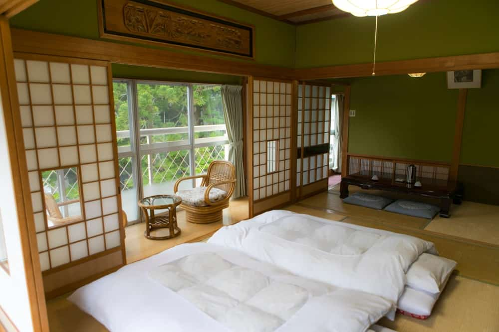 A look at the spacious and cozy room of a ryokan in Japan.
