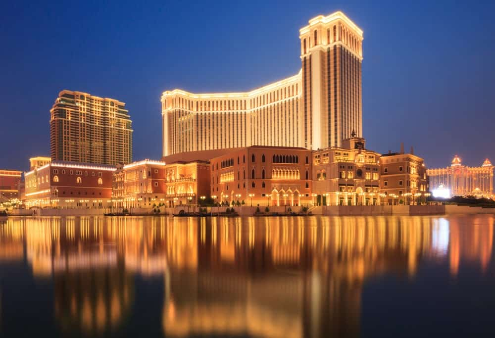 An exterior look at a massive casino hotel in Macao.