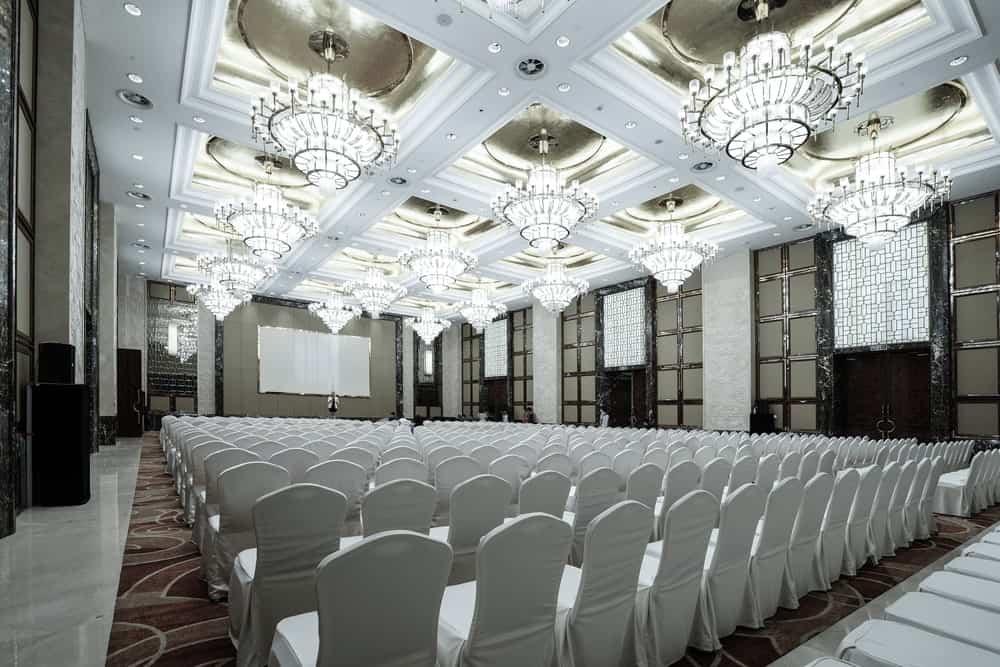 A look at a huge conference hall in a luxury hotel.