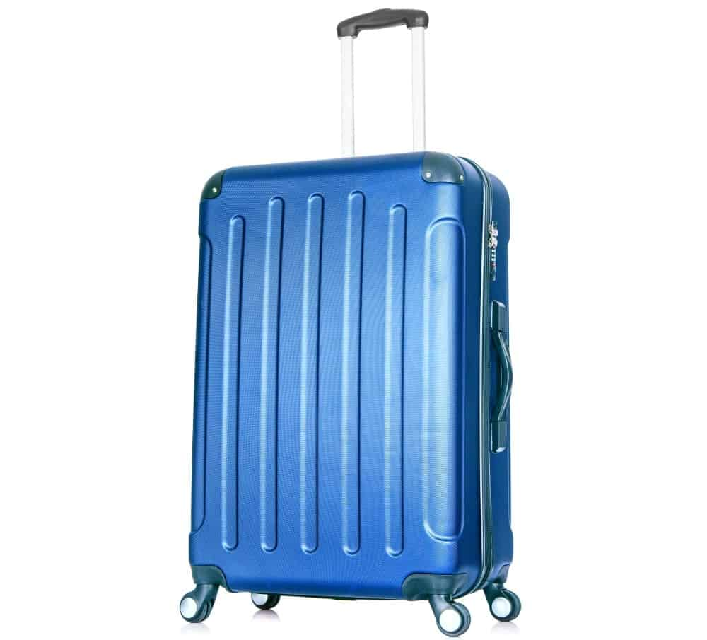 A blue hardside luggage with wheels.