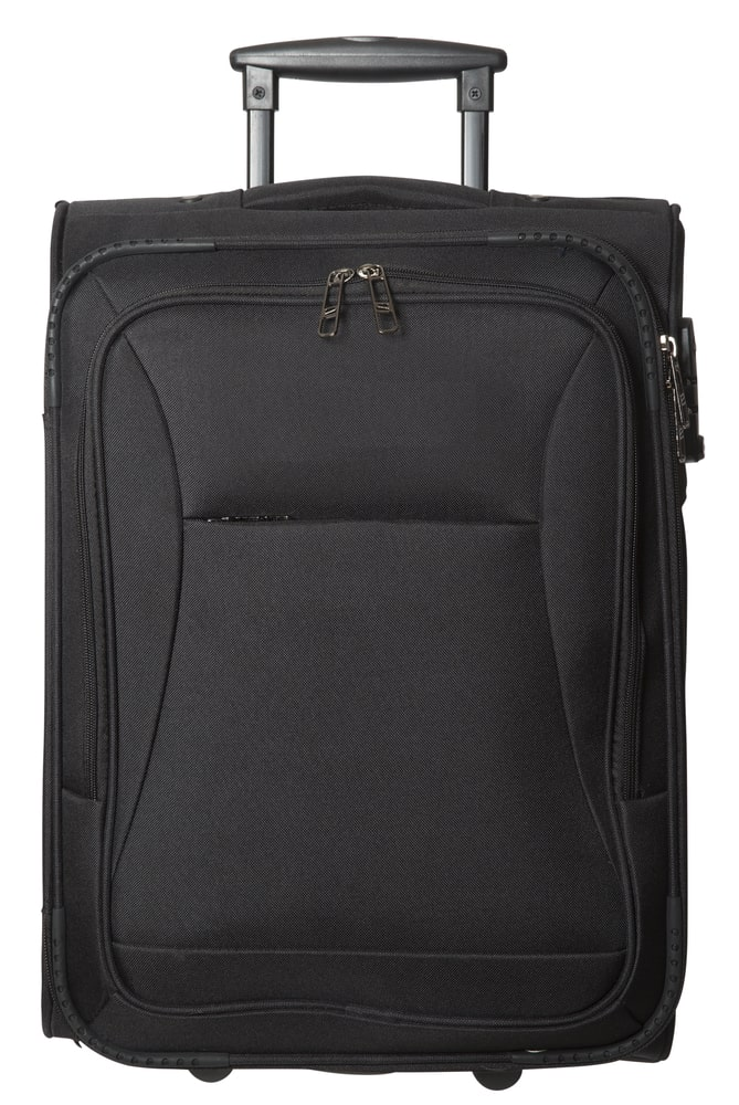 A black softside luggage with a trolley handle.