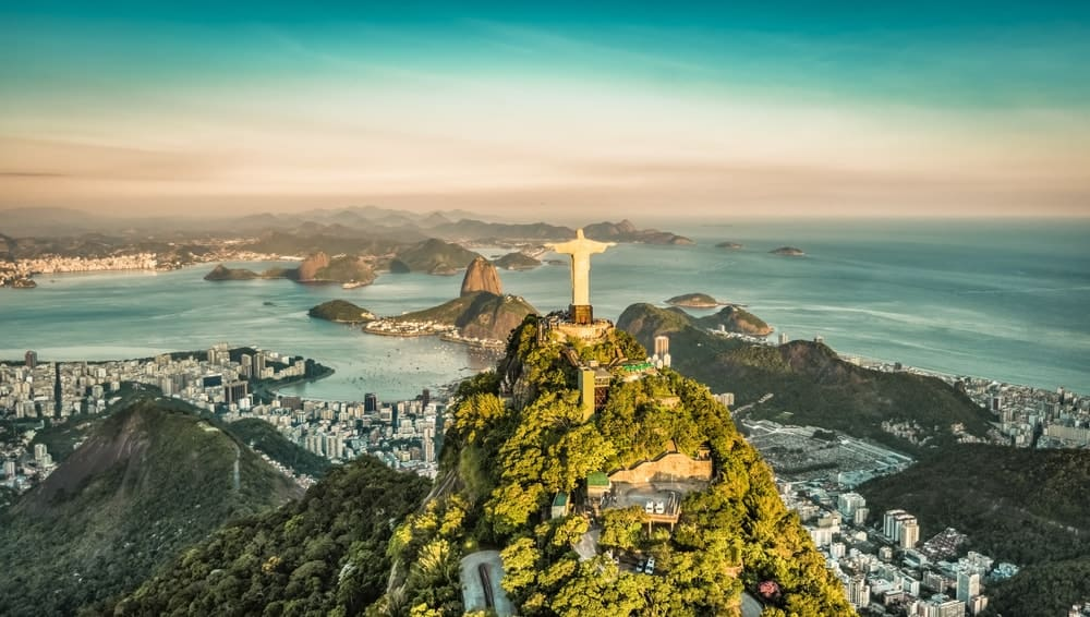 This is an aerial view of Rio de Janeiro.