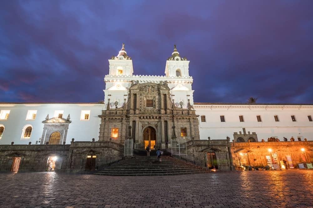 A look at the facade of Plaza de San Francisco in Old Town Quito, Equador.