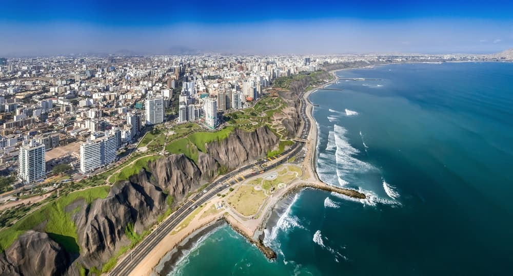 An aerial view of the town of Miraflores by the sea in Lima, Peru.