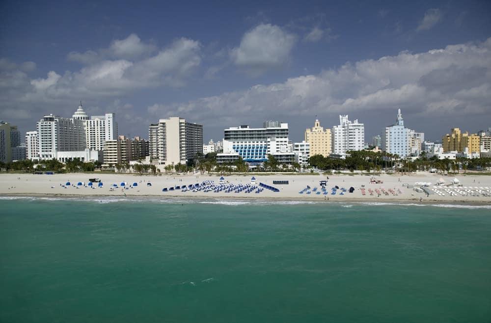 View from the beach of the Miami Beach Ritz Carlton Ritz Carlton Hotel.