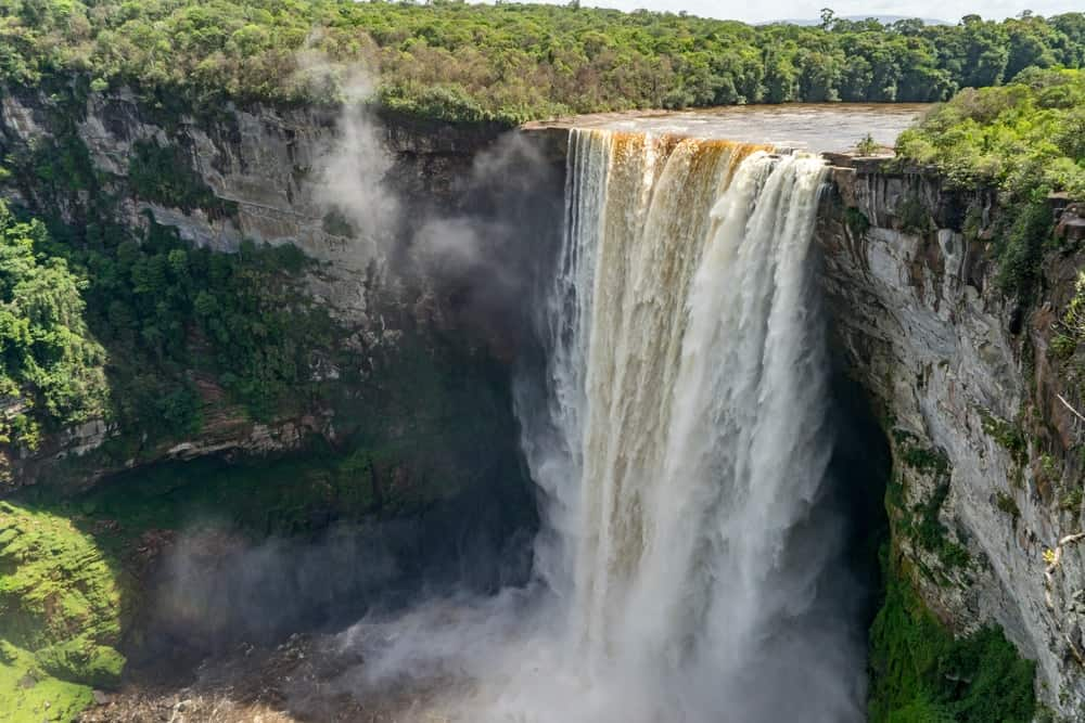 This is an aerial view of the Kaieteur Falls and Guyana's rainforest.