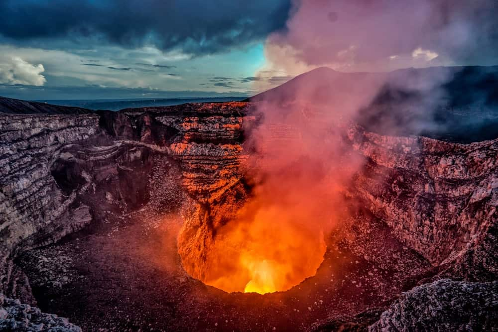 This is an aerial view of the active Masaya Volcano near Managua, Nicaragua.