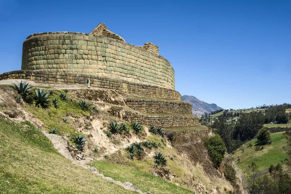 This is a view of the Ingapirca, Inca wall and town, Inca ruins in Ecuador.