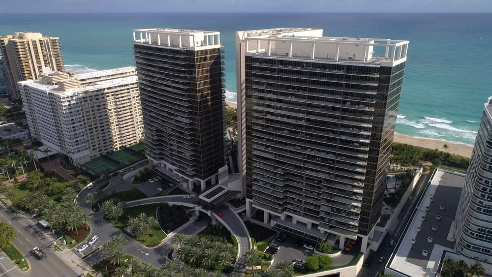 Aerial view of the St. Regis Bal Harbour Resort in Bal Harbour FL, USA.