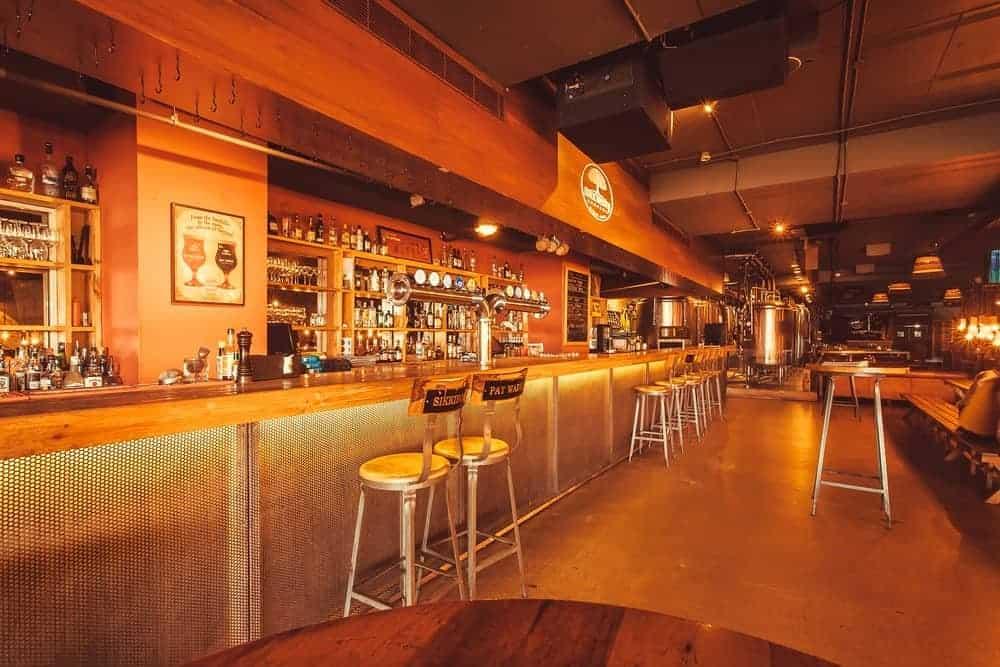 Empty specialty bar with glow lighting.