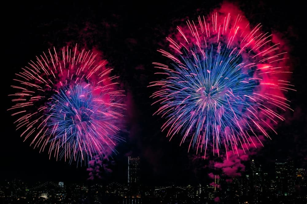 A couple of Chrysanthemum fireworks light up the city skyline at night.